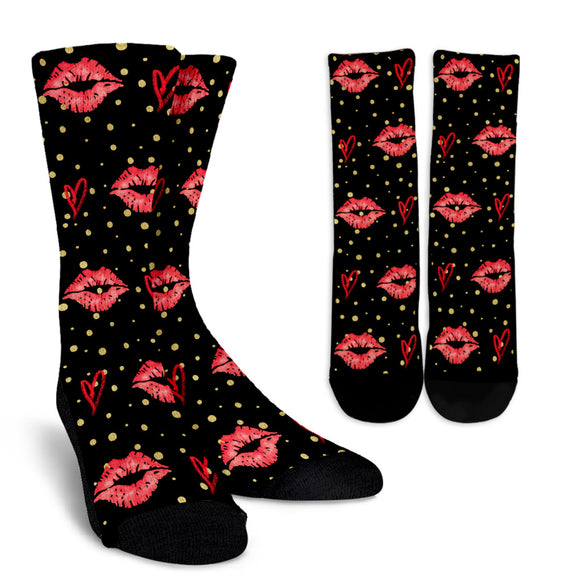 Red Kisses Crew Socks