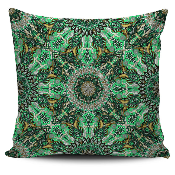 Green Mandala Pillow Cover