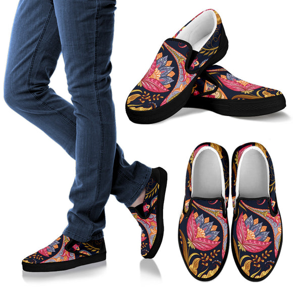 Royal Blue Paisley Women's Slip Ons