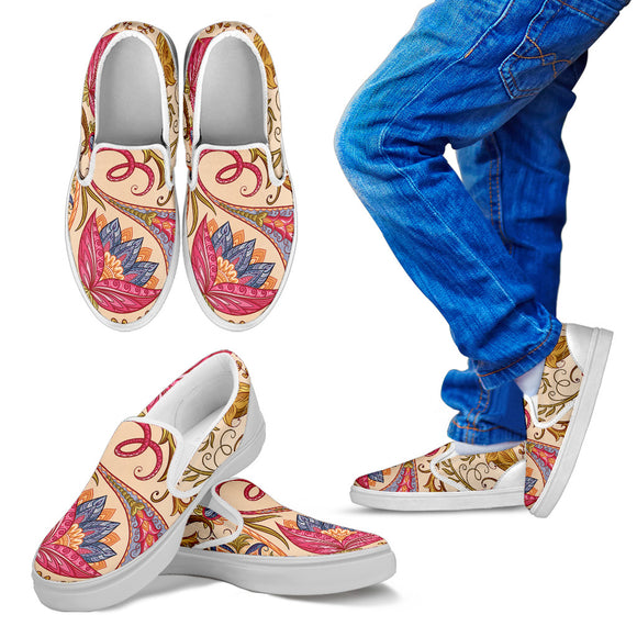 Royal Paisley Kid's Slip Ons