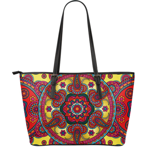 Ornamental Red Magical Dream Large Leather Tote Bag