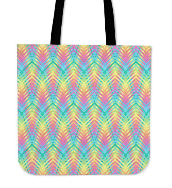 Psychedelic Rainbow Neon Cloth Tote Bag