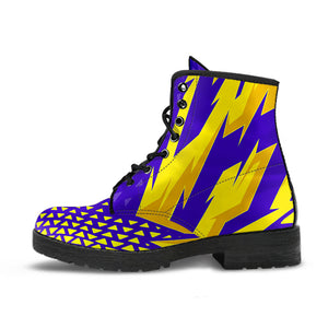 Racing Style Purple & Yellow Vibes Leather Boots