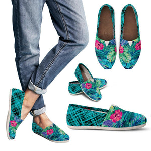 Blue Neon Flowery Women's Casual Shoes