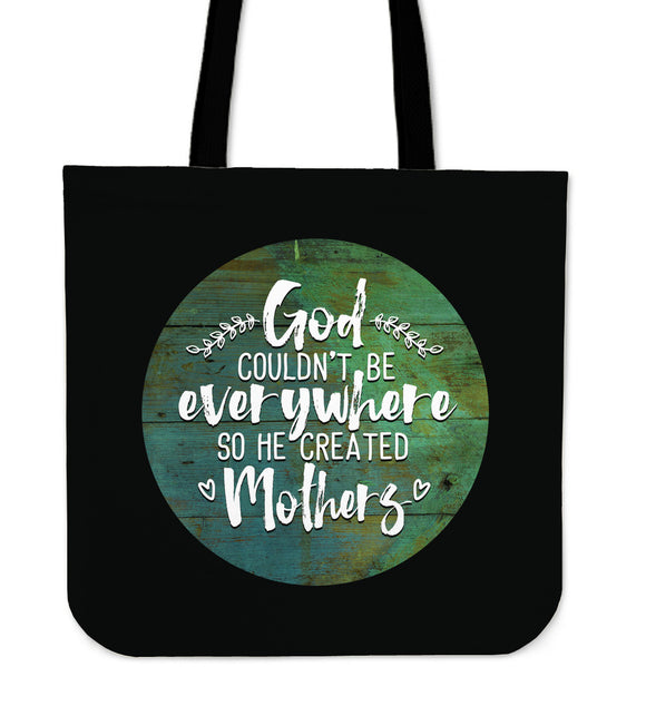 God Created Mothers Cloth Tote Bag