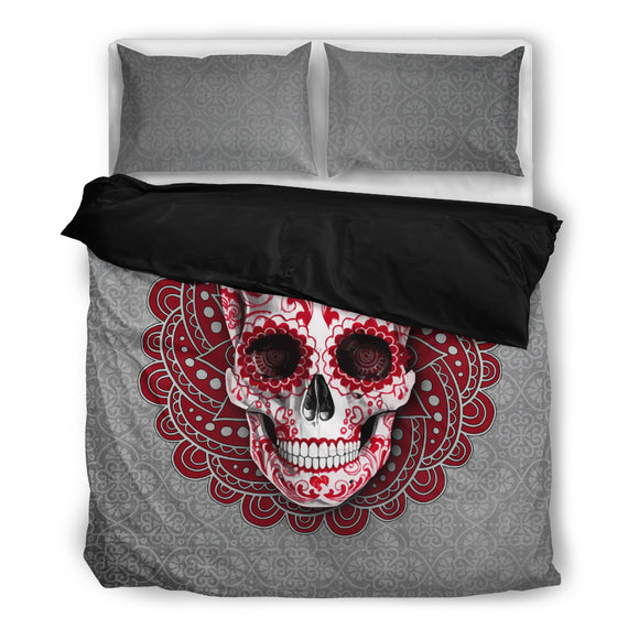Red Mandala Grey Skull Bedding Set