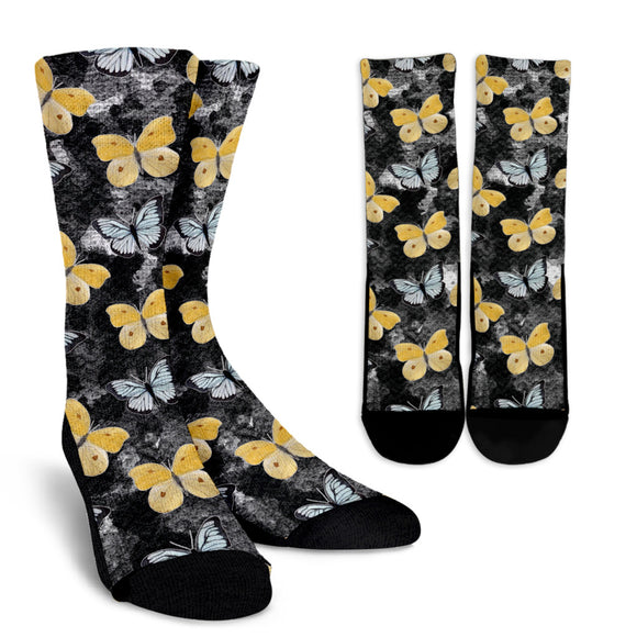 Lovely Black & Yellow Butterfly Crew Socks
