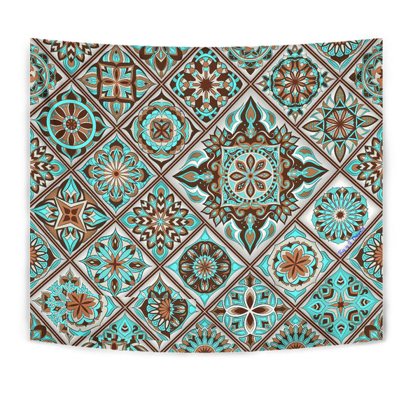 Luxury Magic Light Blue Mosaic Mandala Design Wall Tapestry
