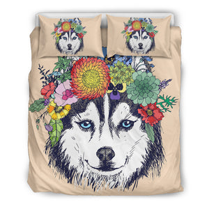 Lovely Flowery Husky Bedding Set