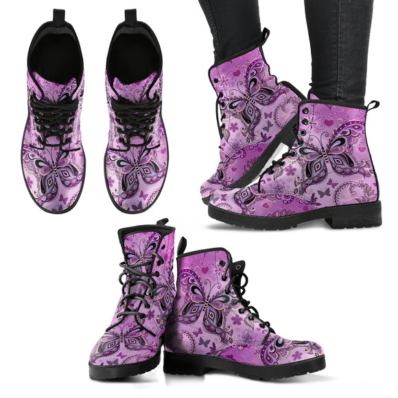 Purple Sweet Butterfly Handcrafted Boots
