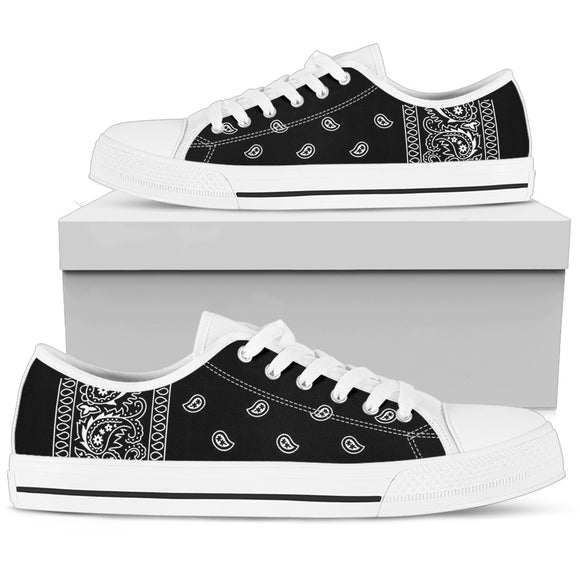 White Bandana Women's Low Top Shoes