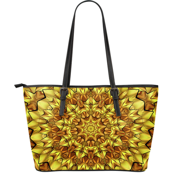 Mandala Gold Universe Large Leather Tote Bag