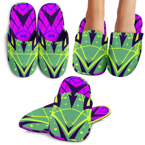 Racing Cosmic Style Purple & Neon Green Vibes Slippers