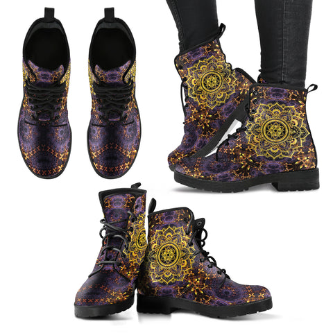 Purple Gold Mandala Dream Handcrafted Boots