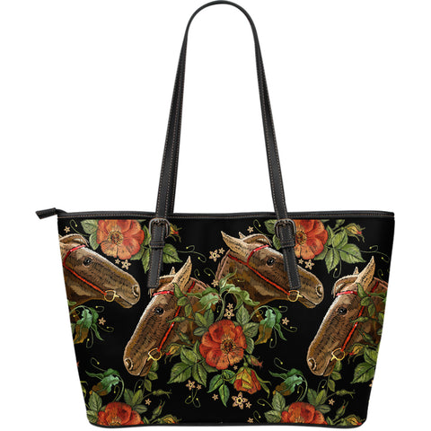 Horses And Flowers Large Leather Tote Bag