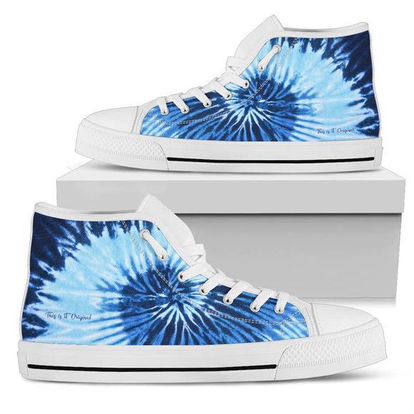 Luxury Light Blue & Dark Blue Tie Dye Design High Top Shoe
