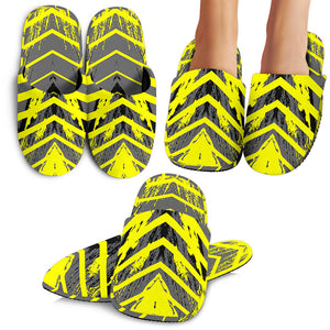Racing Style Grey & Yellow Stripes Vibes Slippers