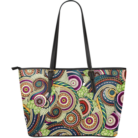 Psychedelic Romantic Dream Large Leather Tote Bag