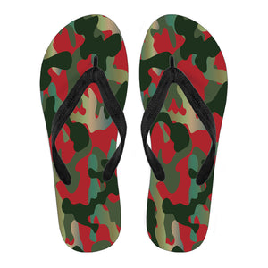 Red And Neon Camouflage Women's Flip Flops