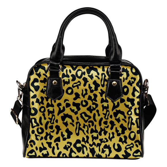 Yellow Cheetah Pop Art Shoulder Handbag