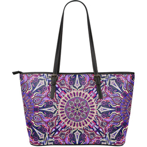 Ornamental Magical Purple Large Leather Tote Bag