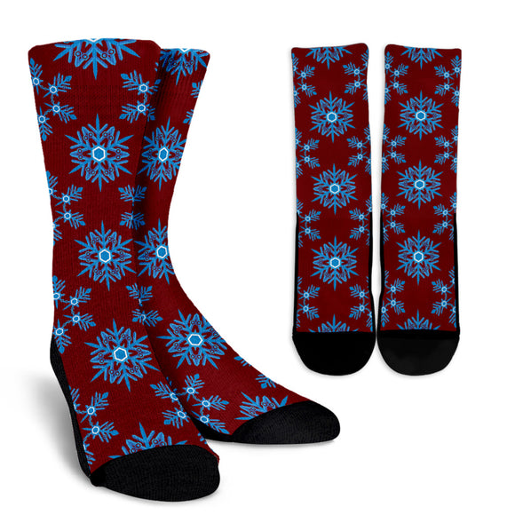 Christmas Lovely Blue Good Vibes Only Crew Socks