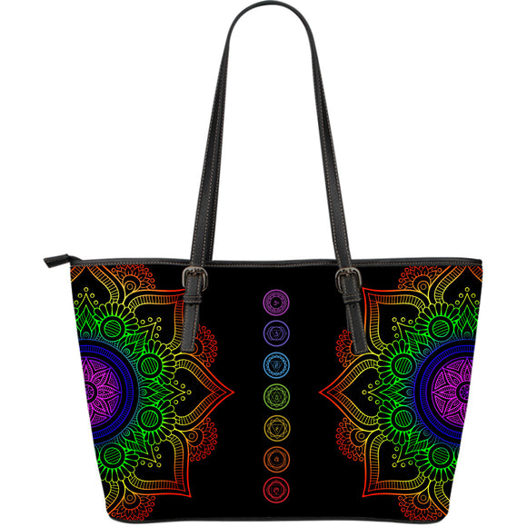 Chakra Perfeft Mandala Large Leather Tote Bag