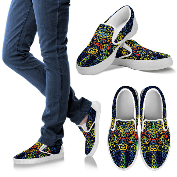 Glowing Rasta Mandala Men's Slip Ons