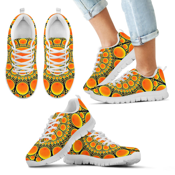 Neon Orange Sun Kid's Sneakers