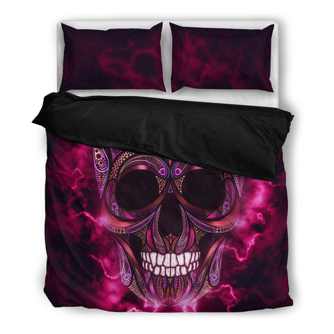 Pink Scary Sugar Skull Bedding Set