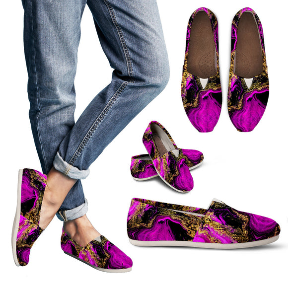 Abstract Pink And Black Art Women's Casual Shoes