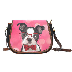 Boston Terrier Leather Trim Saddle Bag