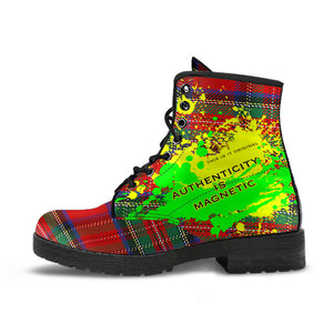 Authenticity is Magnetic. Classic Red Tartan Design With Neon Splash Leather Boots