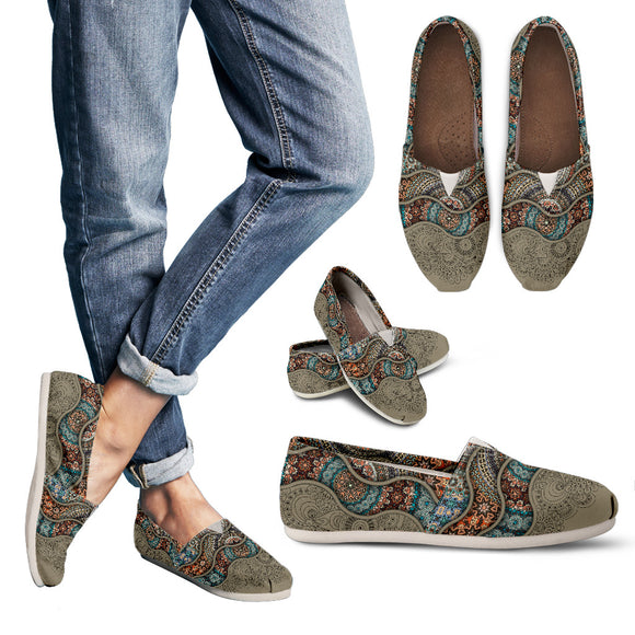 Grey Paisley Mandala Women's Casual Shoes