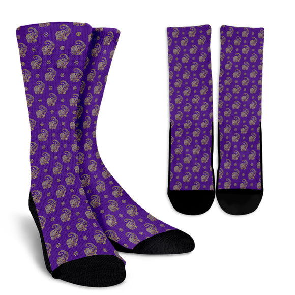 Lucky Purple Elephant Crew Socks