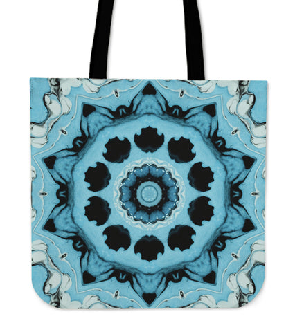 Blue Psychedelic Boho Bloom Flow Cloth Tote Bag