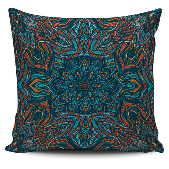 Amazing Colorful Blue Style Mandala Pillow Cover