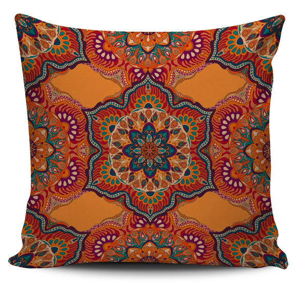 Orange Taste Mandala Style Pillow Cover