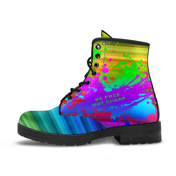 Be free not cheap - Rainbow Design Art with Neon Splash Leather Boots