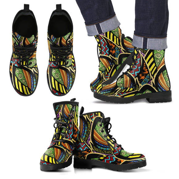 Ornamental Peacock Yellow Love Men's Leather Boots