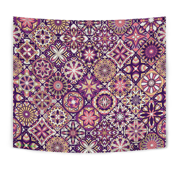Luxury Violet Mosaic Mandala Design Wall Tapestry