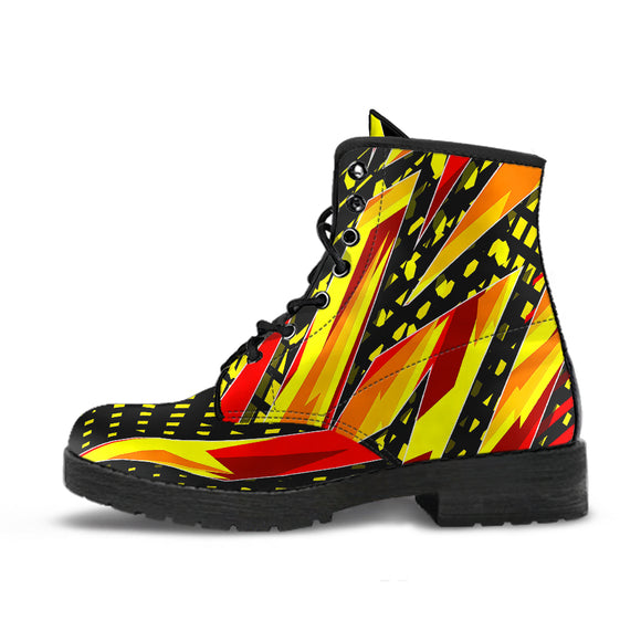 Racing Style Red & Yellow Unisex Leather Boots