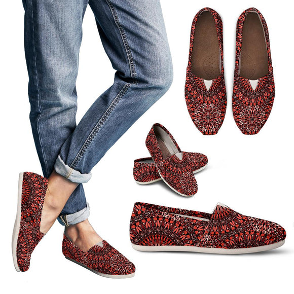Red Spiritual Mandala Women's Casual Shoes