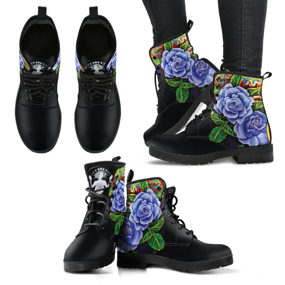 Purple Winter Roses Handcrafted Boots