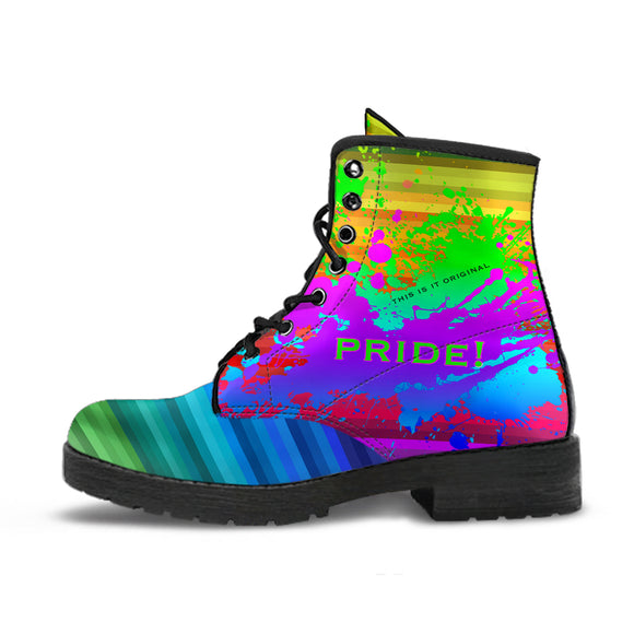 Pride! Rainbow Design Art With Neon Splash Leather Boots