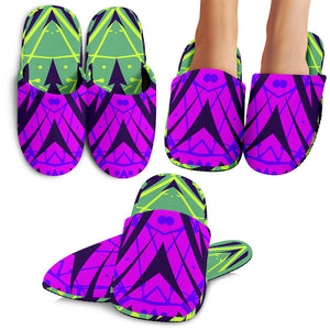 Racing Cosmic Style Neon Green & Violet Vibes Slippers