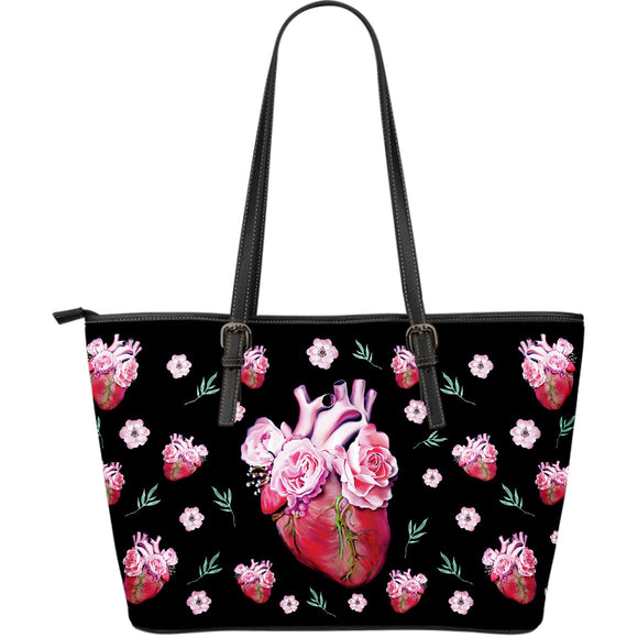Flowers In Your Heart Large Leather Tote Bag