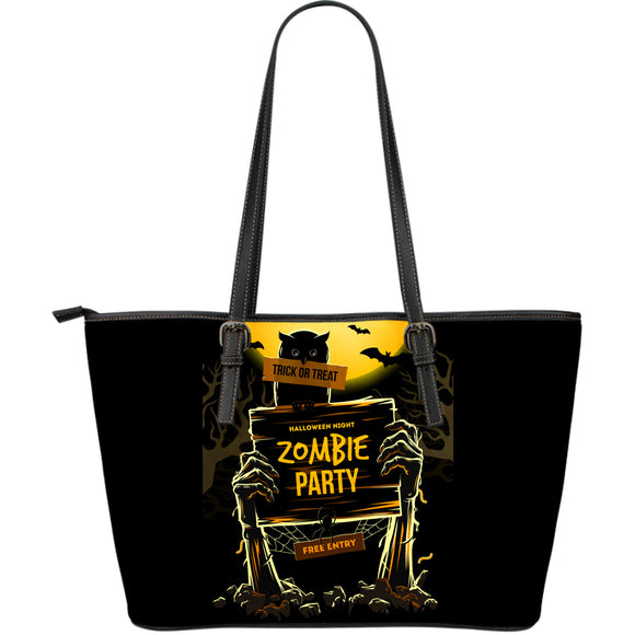Zombie Halloween Party Large Leather Tote Bag