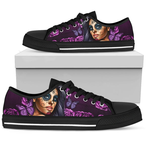 Violet Skull Women's Low Top Shoes