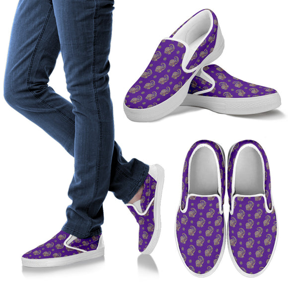Lucky Purple Elephant Women's Slip Ons